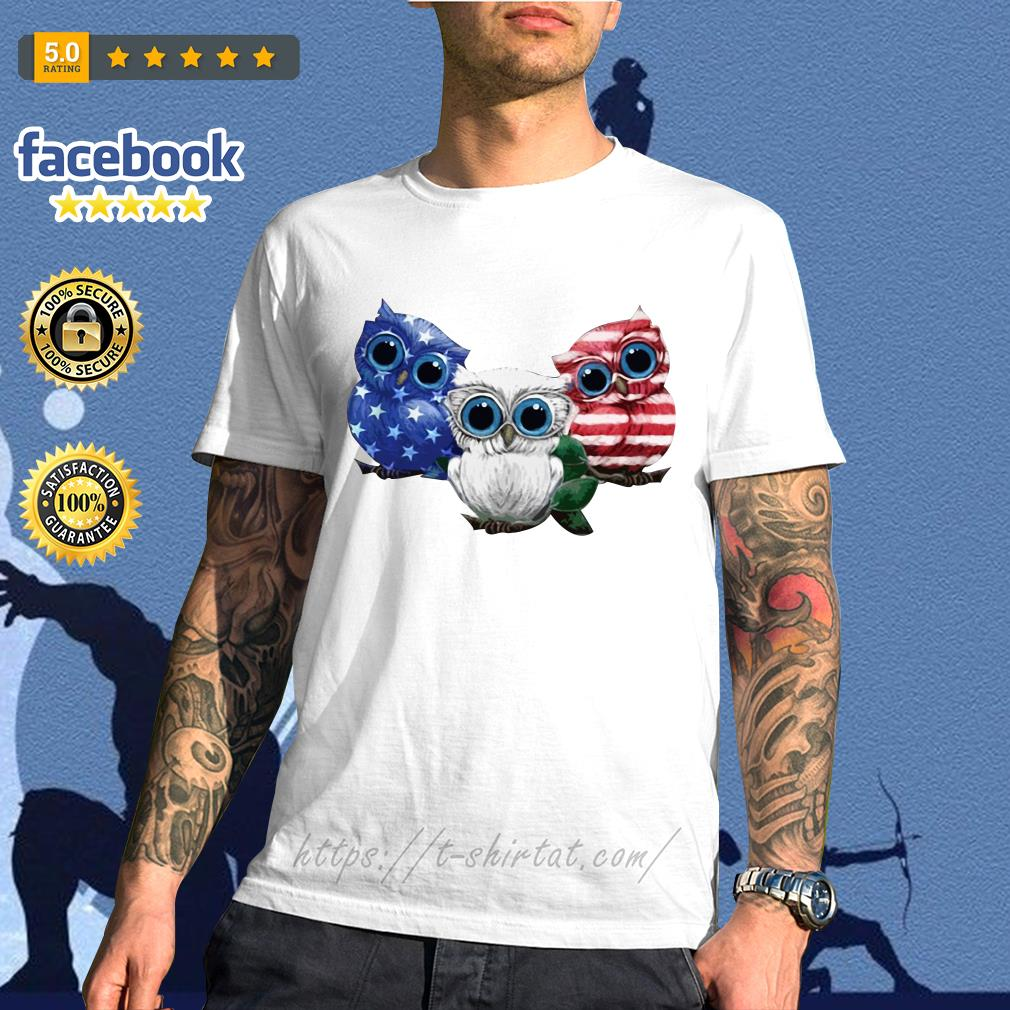 Owls blue white and red American flag shirt