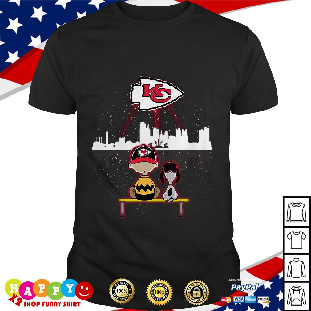 bd563894 Charlie Brown and Snoopy dog watching Kansas City Chiefs shirt by T-shirtat