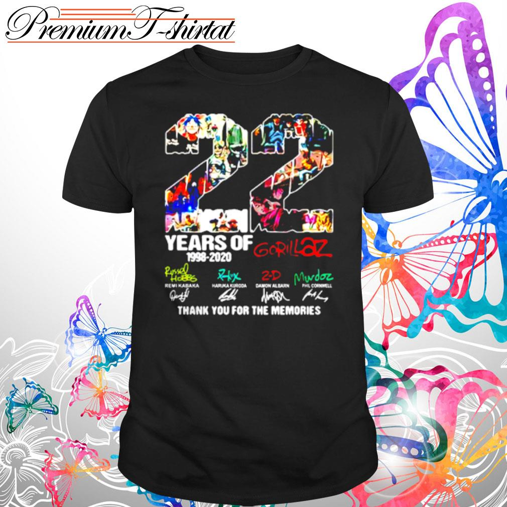 22 Years Of 1998 2020 Gorillaz Signatures Shirt