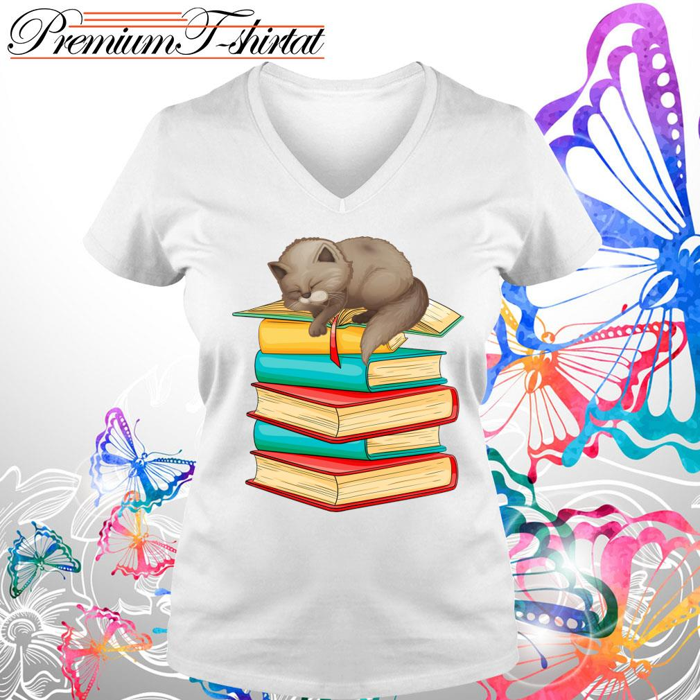 Cats sleep with books s V-neck t-shirt