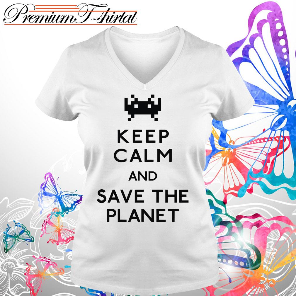 Keep calm and save the planet s V-neck t-shirt