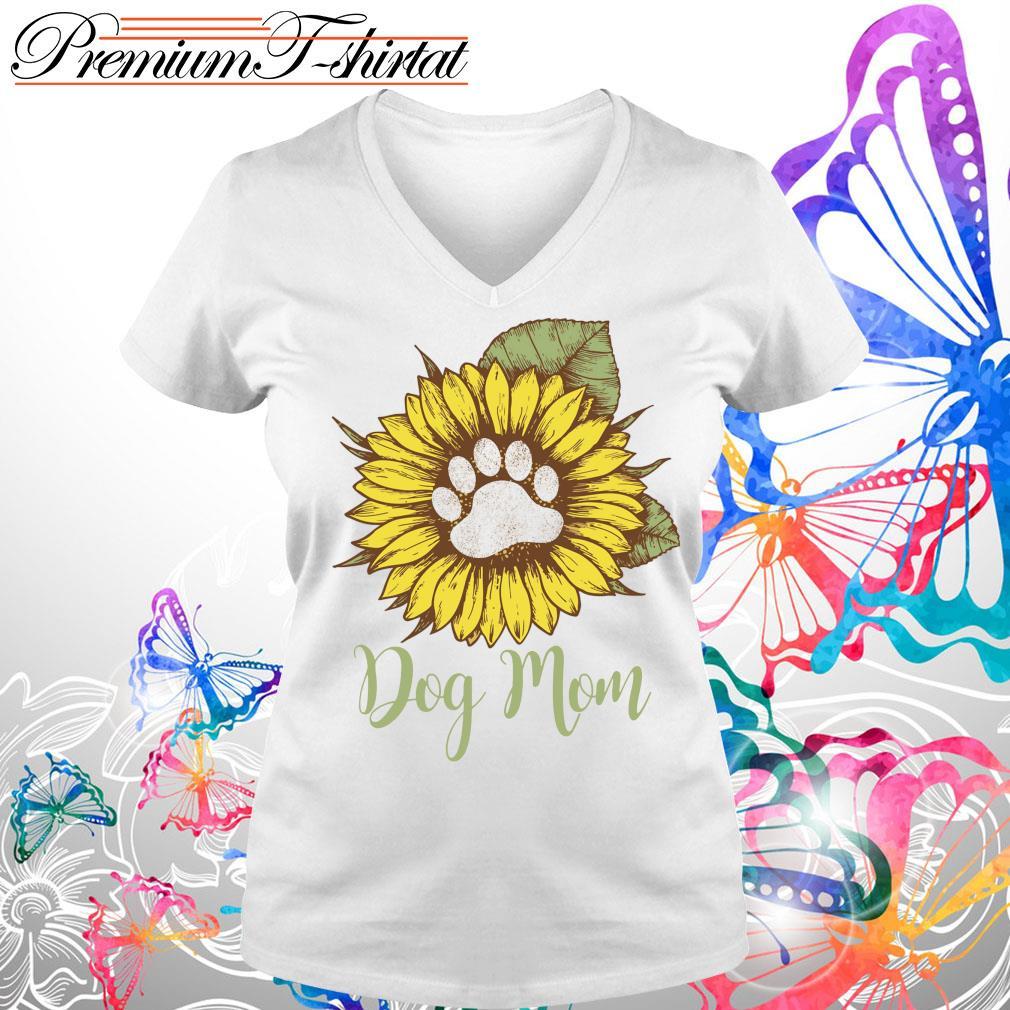 Sunflower paw dog mom s V-neck t-shirt