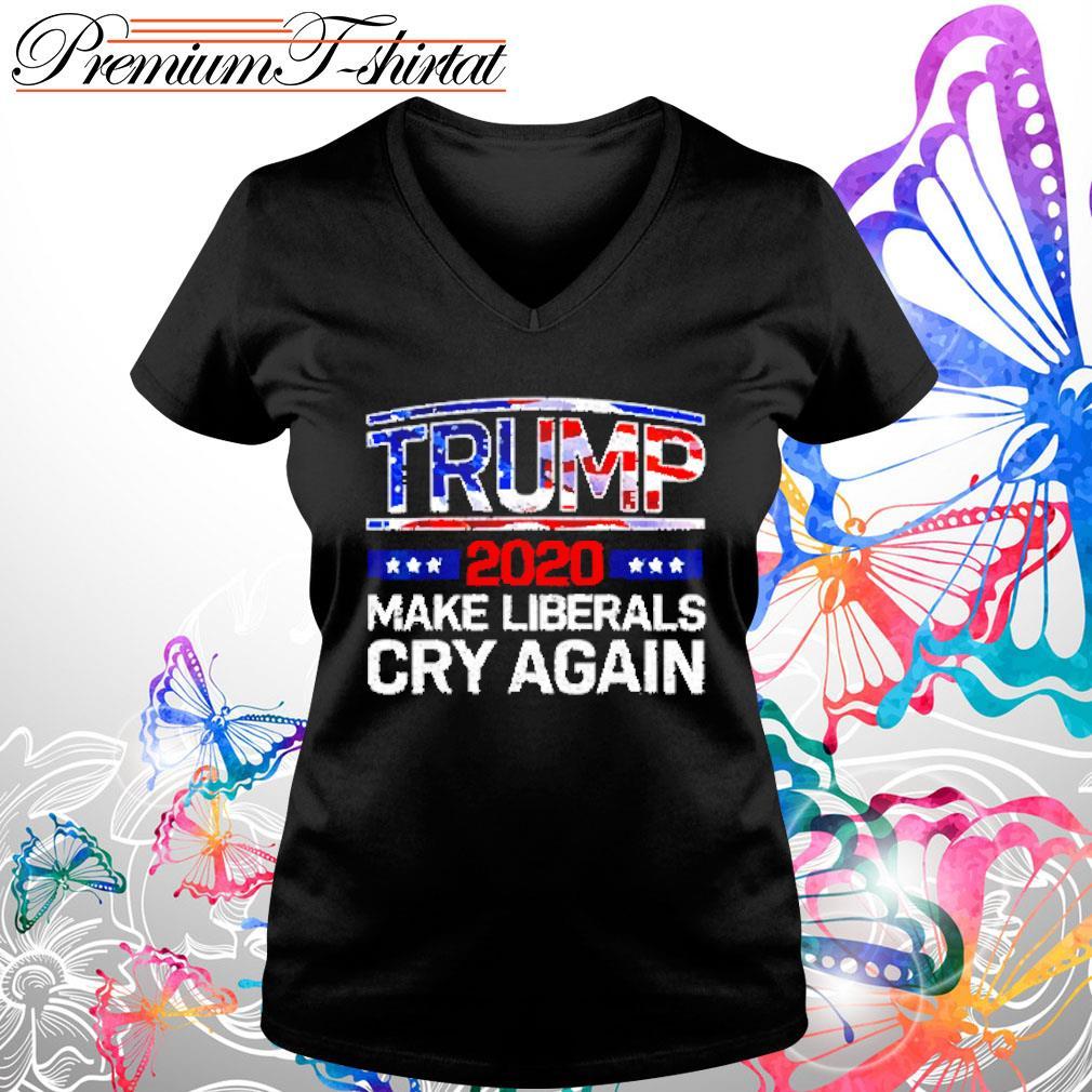 Trump 2020 make liberals cry again s V-neck t-shirt