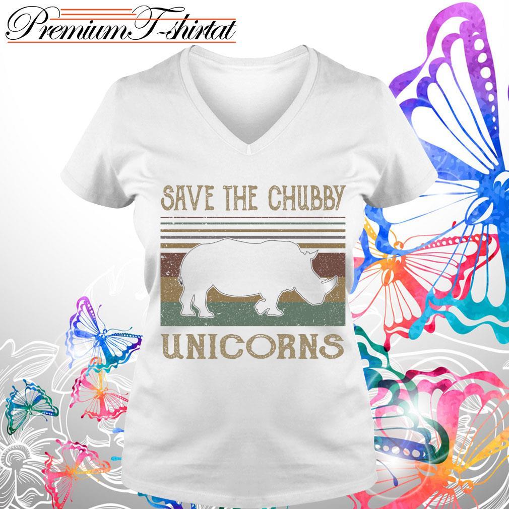 Vintage save the Chubby Unicorns s V-neck t-shirt